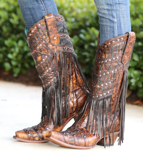 Corral Brown Fringed Layers and Studs Boots C3008