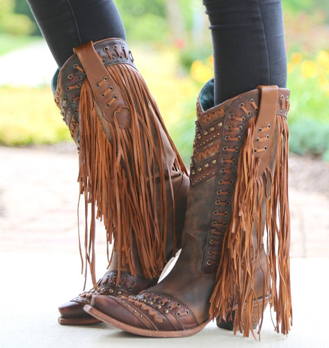 Corral Brown Tan Woven Details and Fringed Sides Boots C2986 Side 2