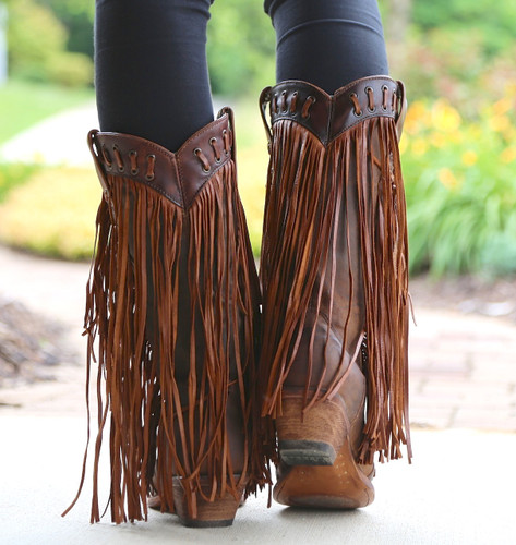 Corral Brown Tan Woven Details and Fringed Sides Boots C2986 Heel