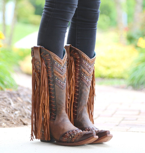 Corral Brown Tan Woven Details and Fringed Sides Boots C2986 Image