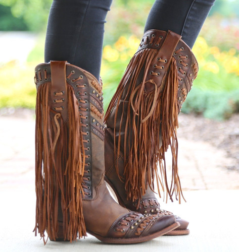 Corral Brown Tan Woven Details and Fringed Sides Boots C2986 Photo