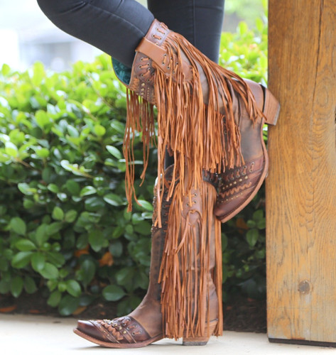 Corral Brown Tan Woven Details and Fringed Sides Boots C2986 Side