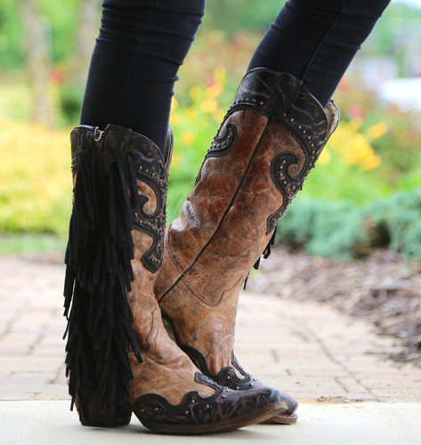 Corral Brown Chocolate Studs and Side Fringe Boots A3149 Left
