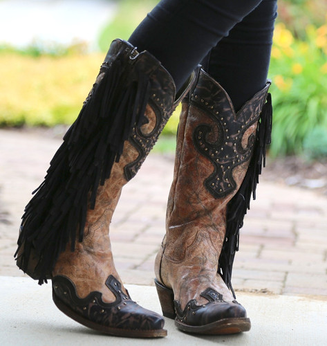 Corral Brown Chocolate Studs and Side Fringe Boots A3149 Image