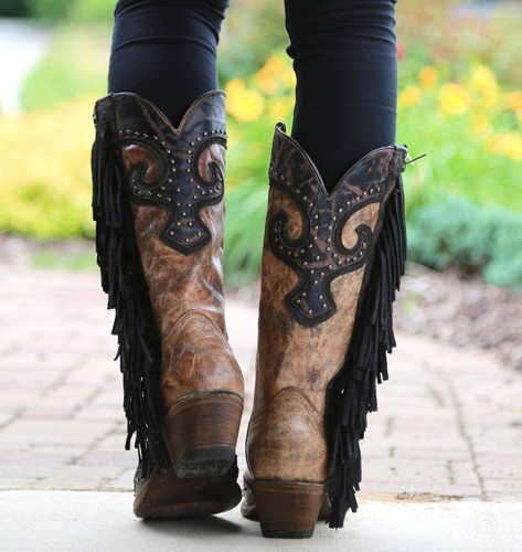 Corral Brown Chocolate Studs and Side Fringe Boots A3149 Heel