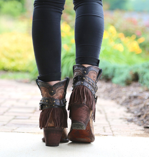 Corral Metallic Cognac Strap with Fringe and Studs Boots C2880 Heel