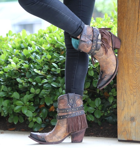 Corral Metallic Cognac Strap with Fringe and Studs Boots C2880