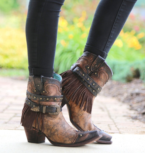 Corral Metallic Cognac Strap with Fringe and Studs Boots C2880 Image