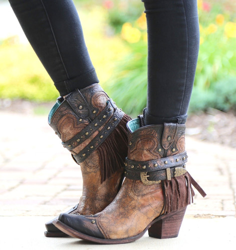 Corral Metallic Cognac Strap with Fringe and Studs Boots C2880 Picture
