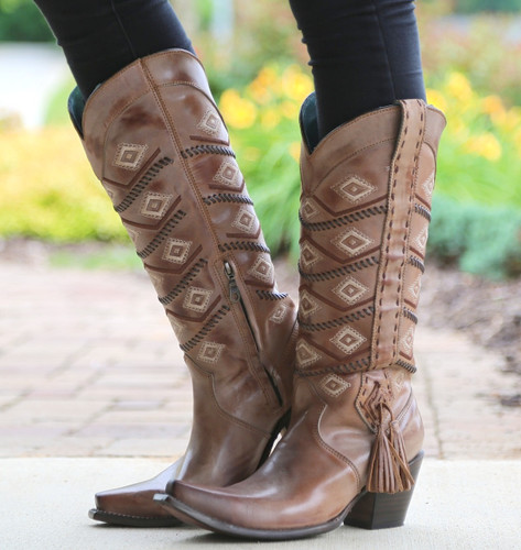 Corral Tan Beige Diamonds and Whip Stitch Boots C2952 Picture