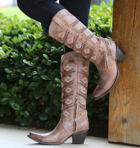Corral Tan Beige Diamonds and Whip Stitch Boots C2952
