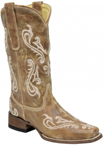 Corral Brown Cortez Cleff Embroidery Sq. Toe R1976 Manufacturers Image