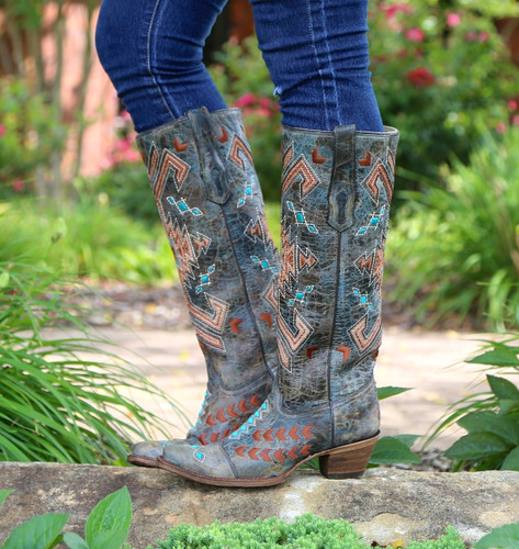 Corral Black Multicolor Jute Inlay Boots A3164 Photo