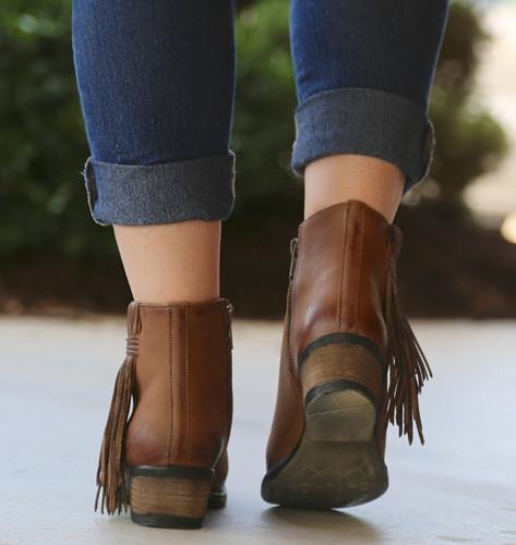 Corral Tan Side Fringe Shortie Boots Q0007 Heel
