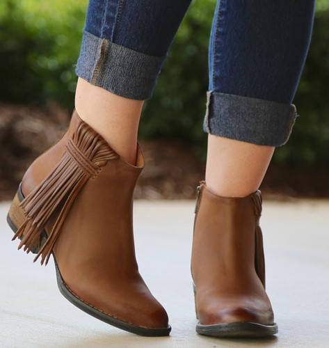 Corral Tan Side Fringe Shortie Boots Q0007 Photo