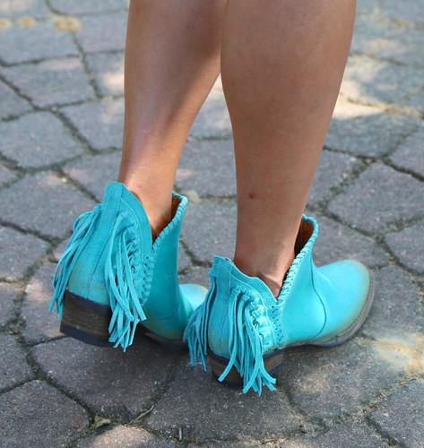 Corral Turquoise Fringe Shortie Q0005 Heel