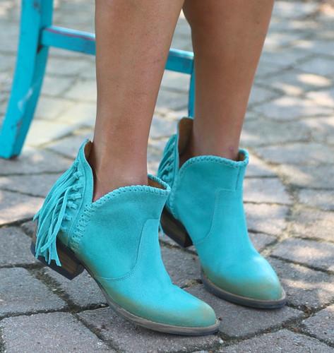Corral Turquoise Fringe Shortie Q0005 Toe