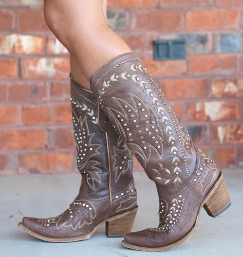 Corral Brown Bone Side Embroidery and Crystals Boots C2927 Image