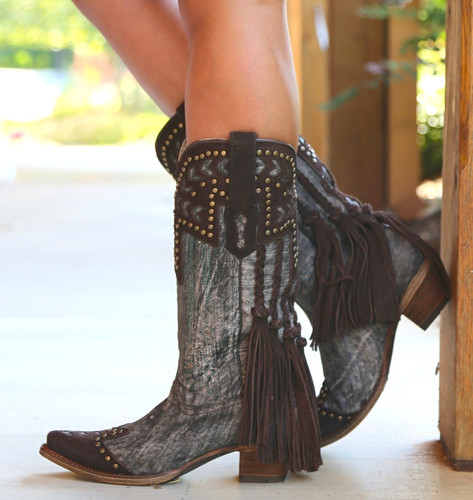 Corral Chocolate Back Braiding and Fringe Boots A3127 Side