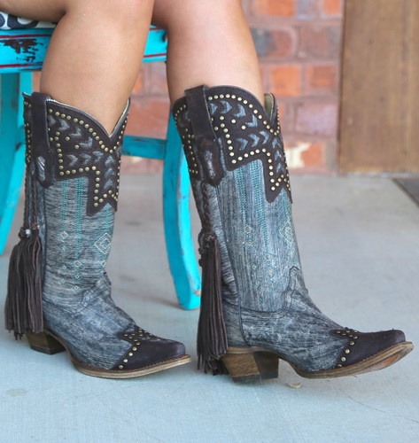 Corral Chocolate Back Braiding and Fringe Boots A3127 Photo