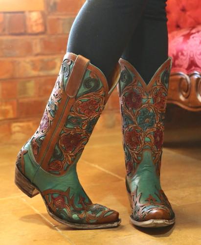 Old Gringo Abelina Turquoise Boots L2408-4 Toe