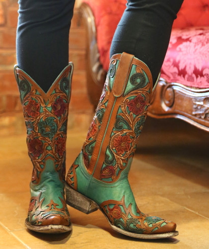 Old Gringo Abelina Turquoise Boots L2408-4 Hand Tooled