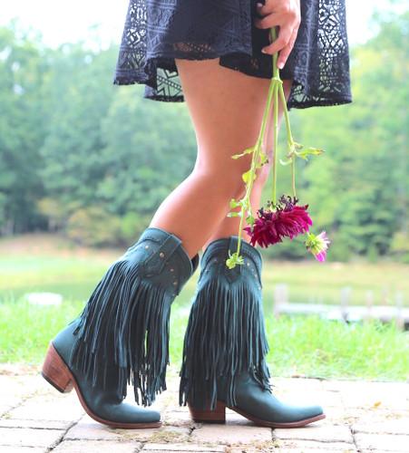 Liberty Black Vegas Fringe Boots Verdone LB71124 Picture