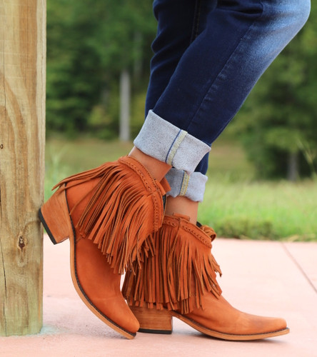 Liberty Black Short Fringe Boots Papaya LB71129 Picture