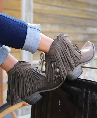 Liberty Black Short Fringe Boots Smog LB71129 Photo
