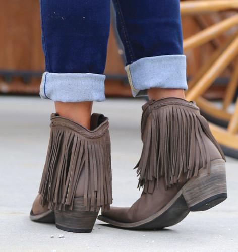 Liberty Black Short Fringe Boots Smog LB71129 Heel