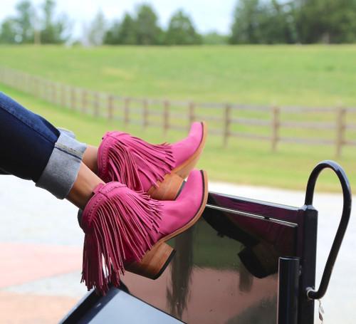 Liberty Black Short Fringe Boots Lipstick LB71129 Wagon