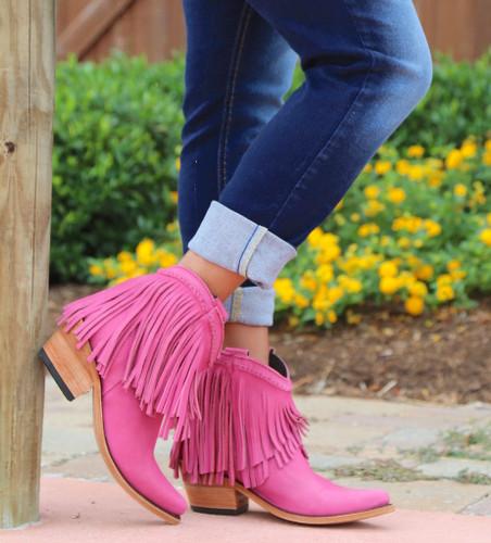 Liberty Black Short Fringe Boots Lipstick LB71129 Toe