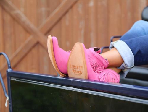 Liberty Black Short Fringe Boots Lipstick LB71129 Label