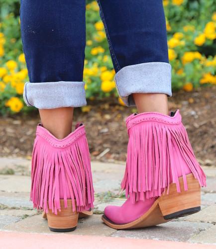Liberty Black Short Fringe Boots Lipstick LB71129 Heel