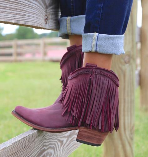 Liberty Black Short Fringe Boots Tinto LB71129 Picture