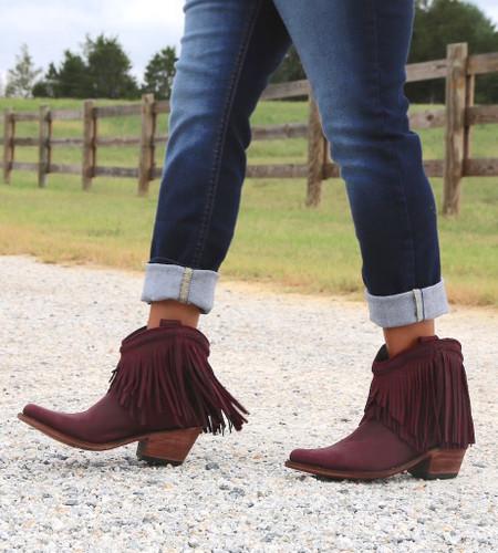 Liberty Black Short Fringe Boots Tinto LB71129 Side