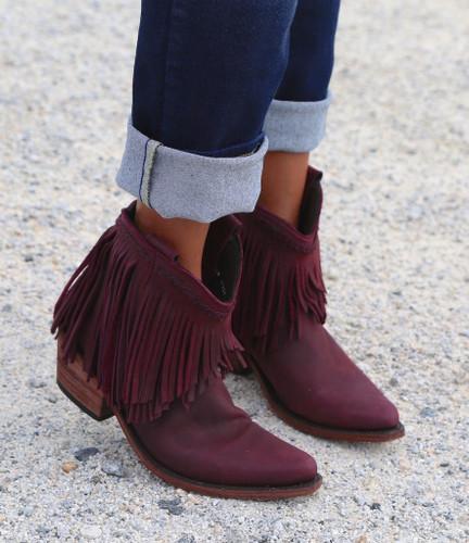Liberty Black Short Fringe Boots Tinto LB71129 Toe