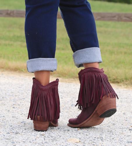 Liberty Black Short Fringe Boots Tinto LB71129 Heel