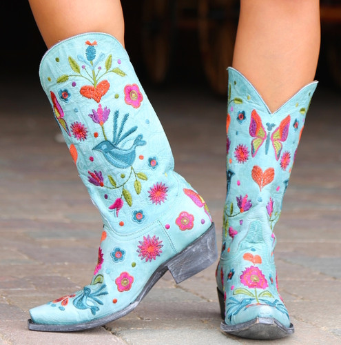 Old Gringo Pajaro Aqua Boots L2476-5 Embroidery