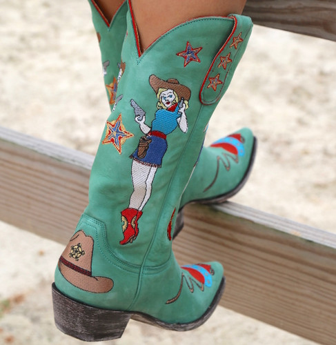 Old Gringo Cowgirl Guns Turquoise Boots L2458-3 Fence