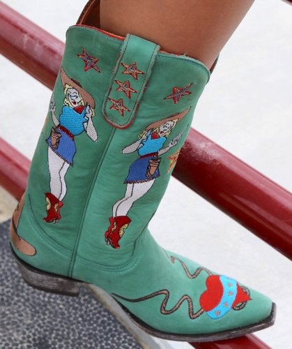 Old Gringo Cowgirl Guns Turquoise Boots L2458-3 Toe