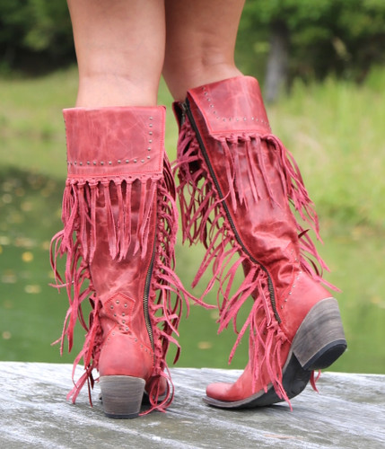 Liberty Black Tall Fringe Zipper Boot LB71167 Rojo Heel