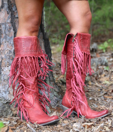 Liberty Black Tall Fringe Zipper Boot LB71167 Rojo Photo