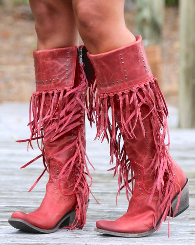 Liberty Black Tall Fringe Zipper Boot LB71167 Rojo Side