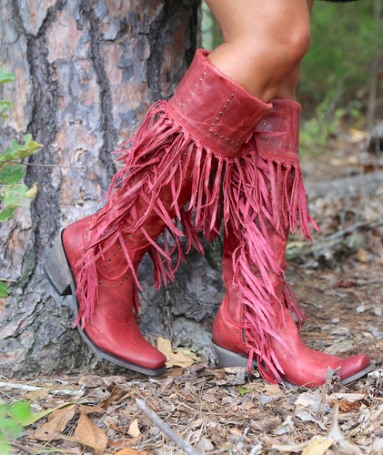 Liberty Black Tall Fringe Zipper Boot LB71167 Rojo Picture