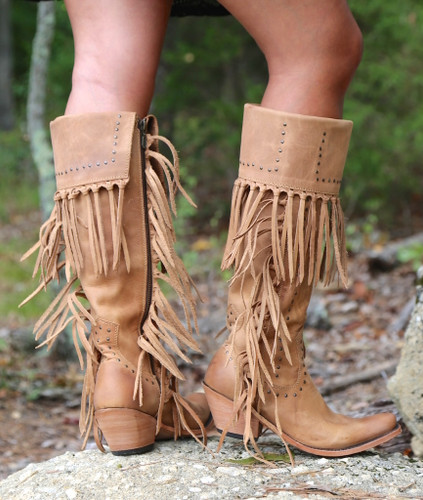 Liberty Black Tall Fringe Zipper Boot LB71167 America Tan Heel