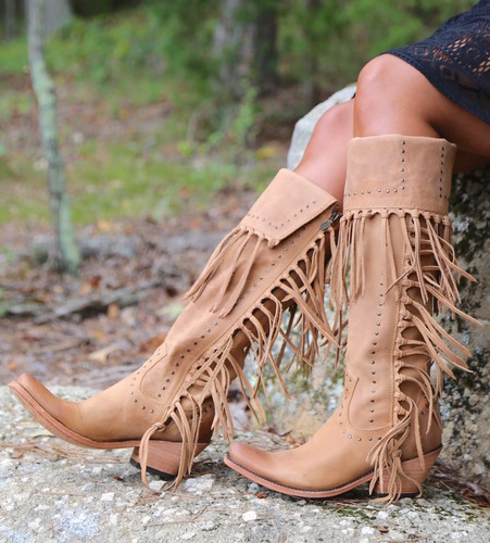 Liberty Black Tall Fringe Zipper Boot LB71167 America Tan Picture