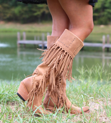 Liberty Black Tall Fringe Zipper Boot LB71167 America Tan Farm