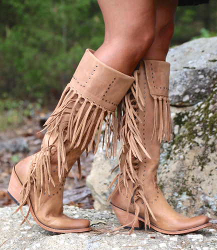 Liberty Black Tall Fringe Zipper Boot LB71167 America Tan Side