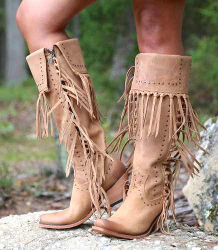 Liberty Black Tall Fringe Zipper Boot LB71167 America Tan Image